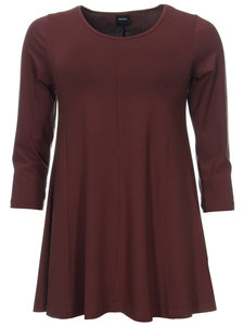 Dark Bordo Basis-shirt A-lijn 3/4 mouw