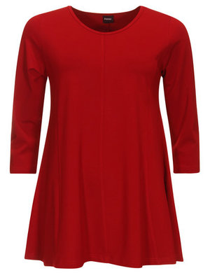 Dark Red Basis-shirt A-lijn 3/4 mouw