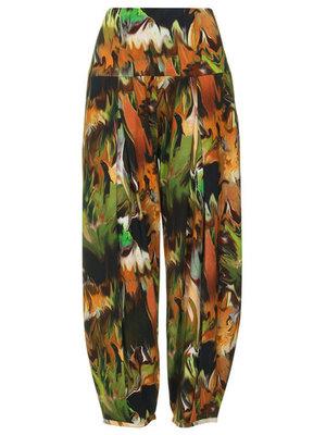 Super comfortabele broek met hoge rekbare taille met print bruin/groene tinten