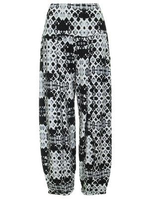 Zwart/wit print Super comfortabele broek met hoge rekbare taille