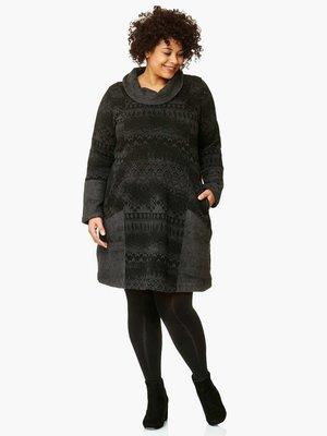 .Kekoo zwart grijs jurkje met hangcol en print