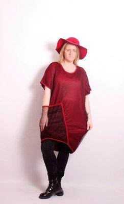 Thom B rode jurk / lange tuniek A-lijn tweelaags met tule,grote zak