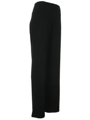 Basic mooie zwarte elegante broek Tanah met brede band in de elastische taille