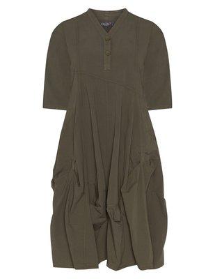 .Kekoo exclusive army groene lange ballon jurk met V-hals en knoopsluiting