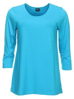 Basis-shirt amy aqua A-lijn ,driekwart mouw .