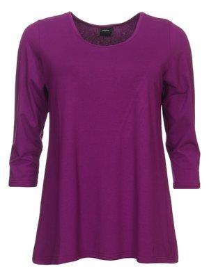 Basis-shirt amy donker fuchsia A-lijn ,driekwart mouw .