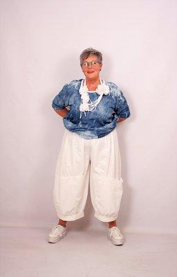 Ballonbroek/eluna 7/8 ruime broek slub offwhite ,grote zakken op been /rekbare /myrjo.