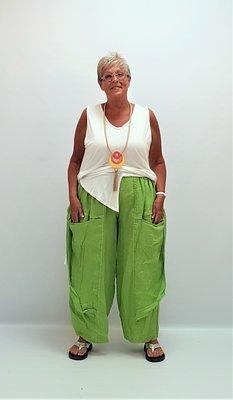Broek limegroen Moonshine, zakken, flappen aan zijkant, rekbare taille,linnen,
