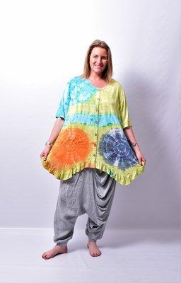 A-lijn vest/tuniek, Thom B  lime/blauw, korte mouw, batik, tie-dye print, geplooide onderrand,