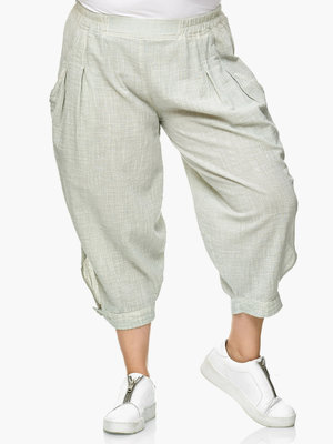 Broek capri Kekoo,mint grijs, elastische taille, steekzakken, washed out.