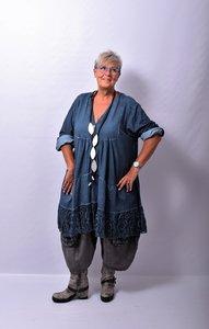 Tuniek/ jurkje blauw, Made in Italy met kanten onderrand en bovenrug, oprolbare mouw
