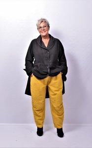 Broek Kekoo mosterdgeel, washed out, elastische taillebroek/ steekzakken