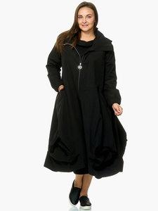 Lange jas Kekoo zwart, capuchon met sjaalkraag met bollingen onderaan