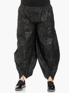 Broek Kekoo zwarte jeans, lederlook met gepeste coating, elastische taillebroek/ steekzakken