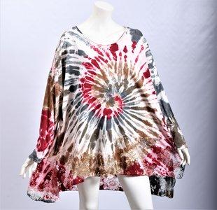Shirt/tuniek rood/ bruin tie&dye met kanten strook onderaan, Moonshine