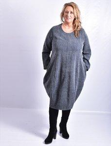 Kekoo exclusive blauw grijs gemêleerd, mooie jurk met ronde hals, steekzakken in zijnaad, ballonmodel.
