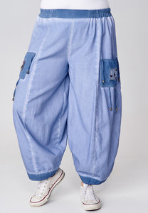 Ballonbroek Kekoo, rekbare taille, jeansblauw, Ibiza-style,tweekleurg.