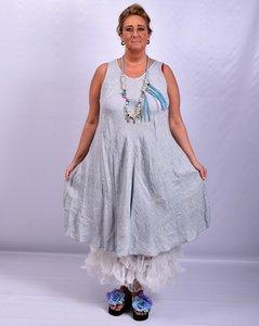 Jurk, kiezel, mouwloos Moonshine, geborduurde print, 100% linnen, grote A-lijn