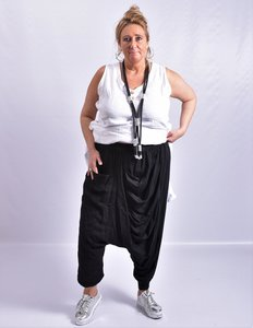 Zouavebroek, zwart,  linnen/katoen,