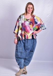 Zouavebroek, La Bass, jeansblauw, zakken op voorpand, rekbare taille,