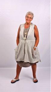 Vest/blouse/jasje Kekoo grijs met lintsluiting, grote zakken, mouwloos