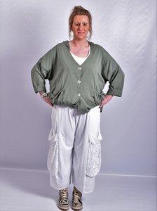 Ballonbroek  ruime broek, wit, grote zakken op been, rekbare.