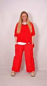 Moonshine tricot broek met naadjes rood wash out