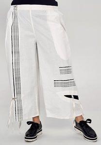 Broek Kekoo offwhite, fijne ruit, elastische taille, steekzakken,