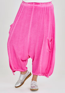 Broek, zouave model, Kekoo,roze elastische taille, 7/8ste lengte