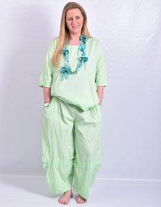 Broek, mint groen, Moonshine, ballonmodel met leuke details  op voorkant