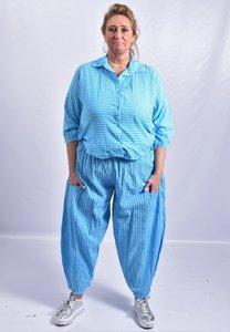 Broek, blauw met witte strepen, ballonmodel met kleine zakken