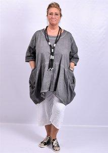 Tuniek antraciet, A-lijn, stone washed, zakken op voorpand, Moonshine, 7/8  mouw,