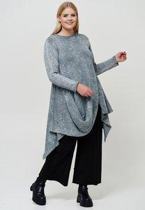 Trui gebreid, Kekoo, grijs met lange mouw, a-symmetrisch, grote A-lijn, stone washed