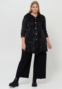 Gebreid lang vest gebreid, Kekoo, zwart met lange mouw, knoopsluiting, naar buiten gestikte naden, stone washed