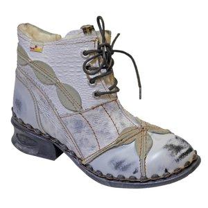 Boots stoere halfhoge leren boots, offwhite met veter,rits en teddy voering