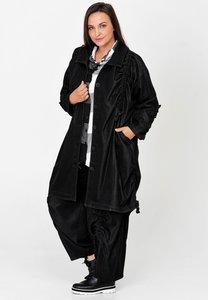 Lange jas, zwart, Kekoo, ophaaltjes vanaf schouderhoogte tot aan de steekzakken, aan de zijkant en onderop de mouw.