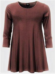 bruin Basis-shirt A-lijn 3/4 mouw