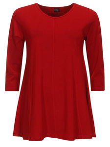Dark Red Basis-shirt A-lijn 3/4 mouw