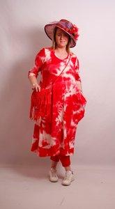.Myrjo Leuke stoere aparte rode jurk met tie&day print,plooien ,super model