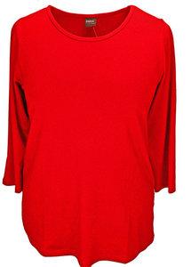 Basis-shirt Amy fire red A-lijn ,driekwart mouw .