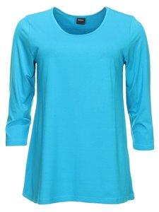 e885826b222 Basis-shirt amy aqua A-lijn ,driekwart mouw .
