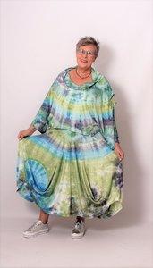 Rok ThomB,groen, blauw, paars, batik met zakken en bolinggen.