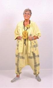 Jasje/ blouse, geel, met capuchon, Kekoo kort, met hangeschilderde strepen