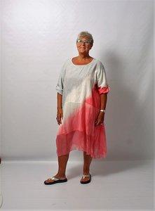 Lange tuniek grijs wit met roze  A-ijn, Made in Italy, oprolbare mouw, tie&day