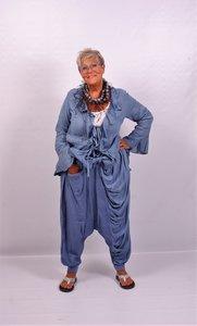 Zouavebroek, blauw, linnen/katoen, apart.